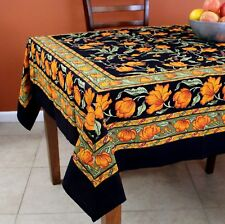 French Floral Print Cotton Tablecloth For Square Tables 60 X 60 Inch Black  Amber