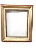 "Mid Century Orange Gold Antique Wooden Picture Frame 12"" x 14"""