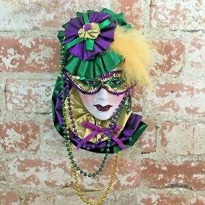 Vibrant colorful porcelain hanging Mardi Gras mask, Mardi Gras wall decor