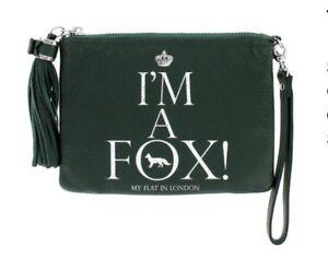 NEW Brighton My Flat In London Tassel Wristlet  I'M A FOX! $115 HUNTER GREEN NWT