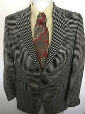 sz 40 Saks Fifth Avenue 100% Cashmere 2 Btn Houndstooth Sport Coat Blazer Jacket