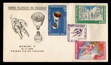 1966 PARAGUAY FDC SPACE GEMINI V CACHET IMPERF COMBO
