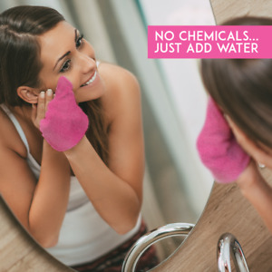 Makeup Remover Cloth Towel Cleansing and Exfoliating Glove Double Sided   Pink