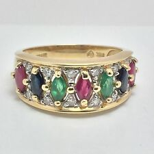 14K YELLOW GOLD RUBY EMERALD SAPPHIRE AND DIAMOND RING  SIZE 6