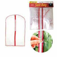 "12X Clear Foldable 34"" Garment Bag Suit Dress Jacket Cover Zipper Storage Travel"