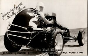 Real Photo 1955 Bobby Grim IMCA Dirt Track Champion Racer Race Car RP RPPC D317