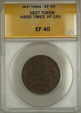 1837 Hard Times Token EF Sise & Co Portsmouth NH HT-195 ANACS EF-40 (A)
