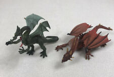 "Plastoy Mythical Red Mountain Dragon Lot of 2 8.5"" Figure Green Safari Fantasy"