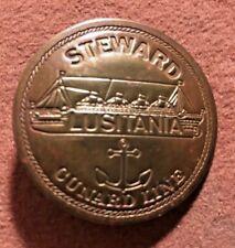 Steward Lutitania Cunard Lines Brass Vintage Novelty Badge 1960s Souvenir NOS