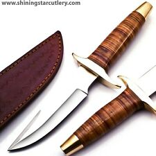 Custom Hand Made 3/8x9 D2 Tool Steel Bowie Hunting Knife W/Sheath