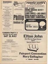 Elton John Yes Fairport Convention Rory Gallagher ad Time Out cutting 1971 #1 AB