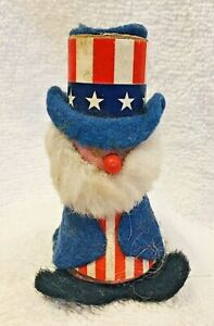 Vintage 4th of July Uncle Sam Party Decoration Wood Felt Paper 3 Inches Tall T95