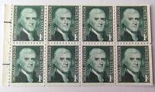 US Postage Stamp 1 BKLT PANE  Scott #1278 A THOMAS JEFFERSON 1 Cent MNH