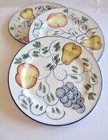 "3 pcs TableTops Unlimited Frutteto Bread & Butter Plates Handpainted Fruit 7.5"""