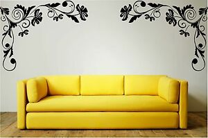 FLORAL CORNERS (v.4) (Left & Right) Wall Art Stickers, Decal, Mural, Home Decor