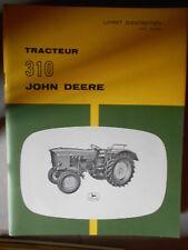 John Deere tracteur 310 : livret d'entretien 25005