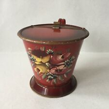 "Vintage Hindeloopen Holland Folk Art ""Craquelure"" Flower Dark Red Metal Bucket"