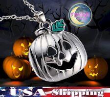 New Pumpkin Jack-O-Lantern Halloween Silver Harvest Pendants Necklace