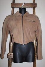 Women's~HARLEY-DAVIDSON~Brown Leather~BIKER Motorcycle~CROPPED JACKET~Medium