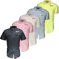 New Soul Star Men's Short Sleeve Cotton Linen Summer Shirt White Pink Black Blue