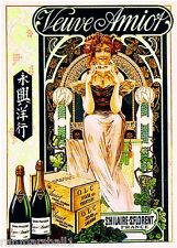 Veuve Amiot Champagne Wine Advertisement Art Poster Print