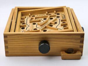 Holz Geduldsspiel, Labyrinth Spiel, 2 Kugeln, Geschick, Balance, Brettspiel