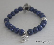 Lapis Lazuli Power Beads OM LOTUS Charm Healing Chakra Bracelet Crystal Gemstone