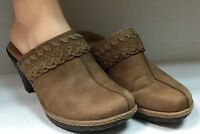 Womens Sofft Light Brown Leather Mule Clog Slip On Size 8 M