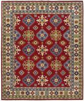 Geometric Super Kazak Oriental Area Rug Vegetable Dye Hand-Made Wool Carpet 8x10