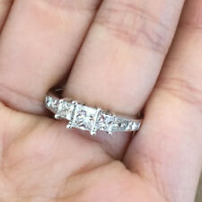 14k White Gold Natural Princess Diamond Three Stone Wedding Engagement Ring