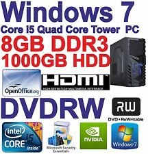 Windows 7 Core i5 Quad Core Hdmi Torre de PC para juegos 8GB DDR3 - 1000GB HDD DVDRW