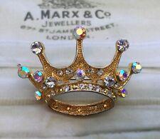 VINTAGE COSTUME JEWELLERY  GOLD CORONET CROWN BROOCH  SPARKLING CRYSTAL JEWEL