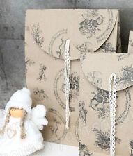 CHIC ANTIQUE, 5 x Geschenktüte,Tüte * ENGEL / NOTEN * Spitzenband, 28x16x10 cm