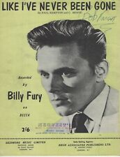 """Billy Fury """"Like I've Never Been Gone"""" Original Sheet Music Contemporary1963"""