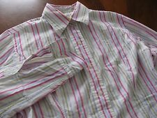 T.M. Lewin Sz 10 Pink Green Fitted Striped Long Sleeve Button Down Shirt EUC