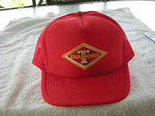 DIAMOND T  TRUCK HAT WITH EMBROIDERY PATCH ADJUSTABLE SIZING COLOR ( RED)