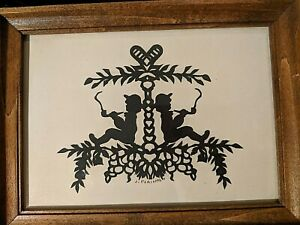 Framed Scherenschnitte Signed by 'Jo Forinash' Paper Cutting, Boys Smoking Pipe