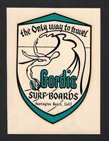 1963 GORDIE surfboard old water slide decal SURF surfing Huntington Beach