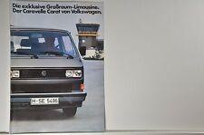 VW Volkswagen Bus T3 Caravelle Carat Prospekt 08/1983