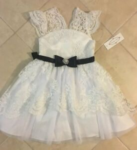 RARE EDITIONS SEARINGTON ROAD® Girls' 5, Embroidered Lace Dress NWT $94