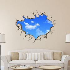 3D blauer Himmel Weiße Wolken PVC Wand Aufkleber Wandtattoo DIY Fensteraufkleber