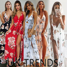 UK Womens Holiday Strappy Ladies Maxi Long Summer Print Beach Dress Size 6-14