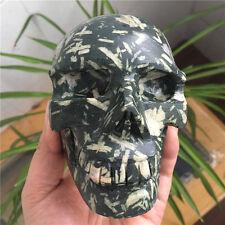 1500g Rare Natural Grass green stone Crystal carving skull Healing
