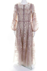 J. Mendel  Womens Silk Embroidered Mesh Cocktail Dress Pink Blush Size Small