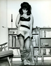 PARIS-HOLLYWOOD 1963 Vintage Photograph Model UNDRESSING Garter Belt STOCKINGS