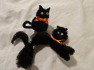 Vtg 60s BLACK CAT Pom Pom Pipe Cleaner Kitties GOOGLY Eyes Lot of 2 HALLOWEEN