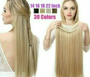 Halo Hair Extensions No Clip Invisible Wire Synthetic Ombre False Long Hairpiece
