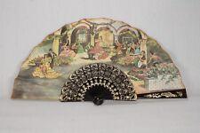 Vintage Folding Faux Brown Tortoiseshell Spanish Flamenco Design Fan Decorative