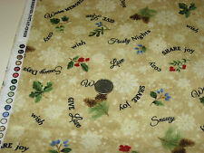 Timeless Treasures quilt-craft FLANNEL fabric HOLIDAY LOVE WORDS beige 2 yds