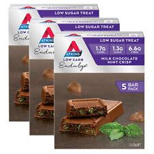 5pc Atkins 30g Milk Chocolate MINT Low Sugar Endulge Protein Bar Healthy Snack